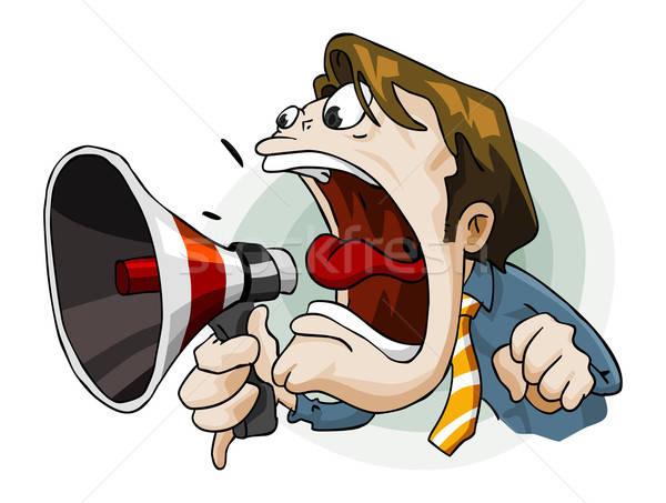 Man megafoon gedetailleerd geïsoleerd witte business Stockfoto © araga