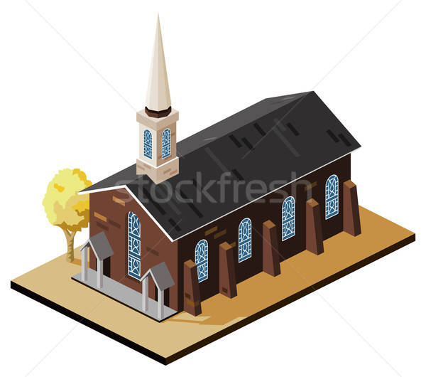 öreg templom izometrikus saját világ Stock fotó © araga
