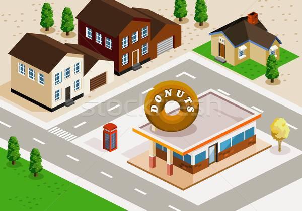 Donuts winkel isometrische gedetailleerd gebouw vector Stockfoto © araga