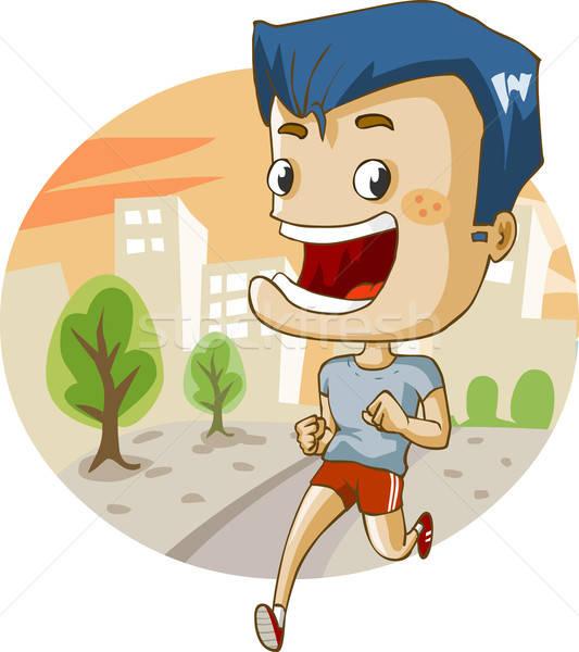 Jogging stad gedetailleerd weg sport oefening Stockfoto © araga