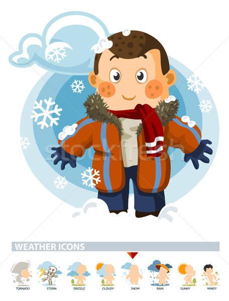 Kar kış hava durumu ikon insanlar örnek Stok fotoğraf © araga