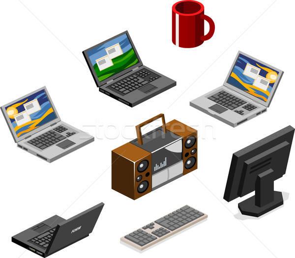 Computer stereo isometrische eigen wereld kantoor Stockfoto © araga