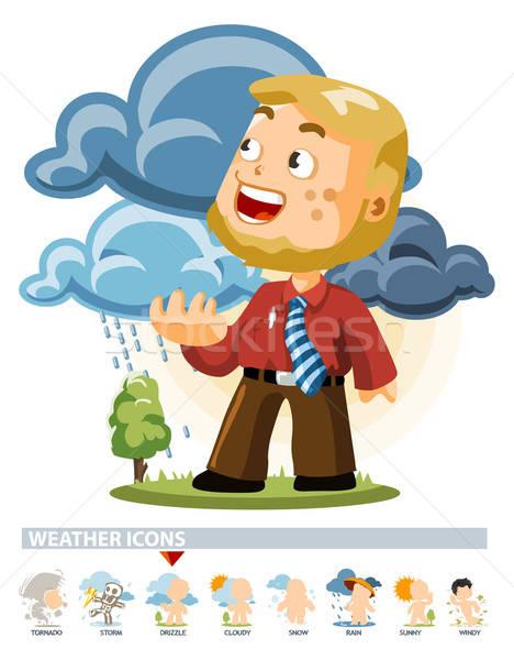Drizzle. Weather Icon Stock photo © araga