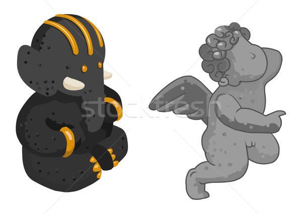 два Cute статуя изометрический собственный Мир Сток-фото © araga