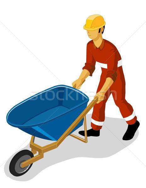 Stock photo: Worker on Wheelbarrow