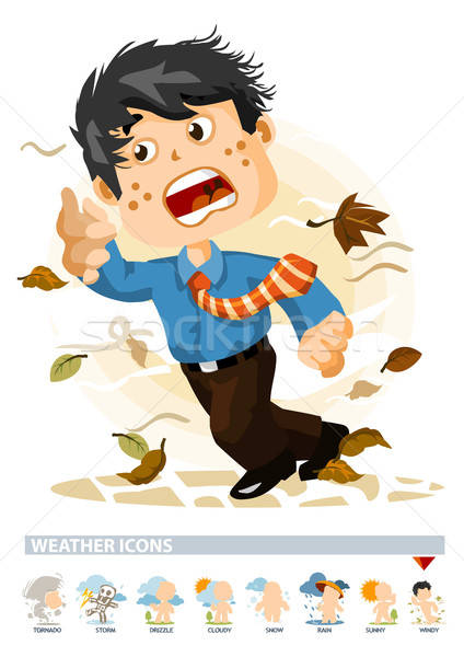 Windy or Autumn. Weather Icon Stock photo © araga
