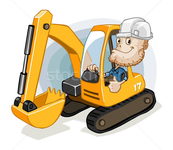 Excavator with Labor Stock photo © araga