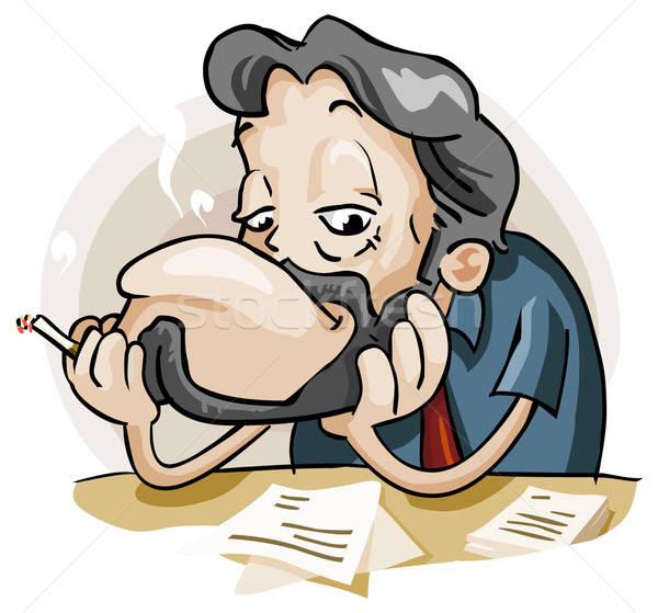 ленивый сотрудник подробный бизнеса Cartoon свободный Сток-фото © araga