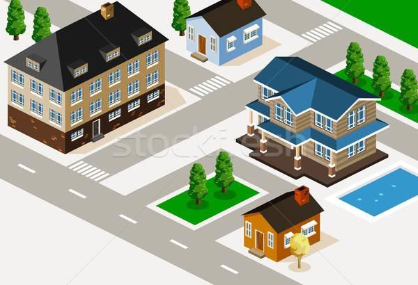 Rijke huis isometrische gedetailleerd gebouw vector Stockfoto © araga