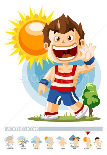 Güneşli hava durumu ikon insanlar örnek ayrıntılı Stok fotoğraf © araga