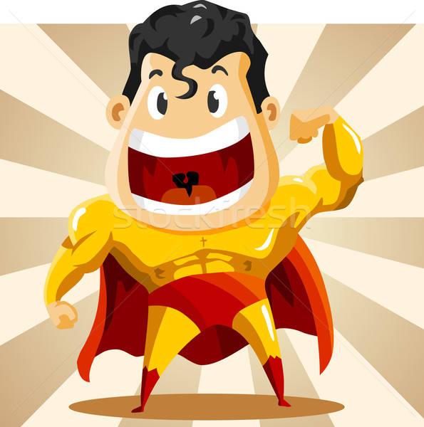 強い スーパーヒーロー 詳しい 空 笑顔 男 ストックフォト © araga