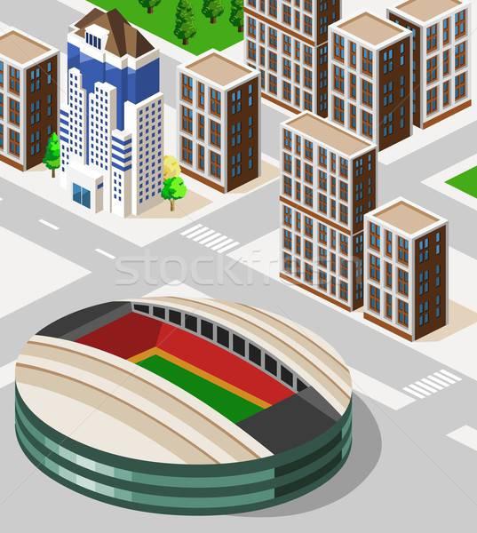 Voetbal stadion isometrische gedetailleerd gebouw vector Stockfoto © araga