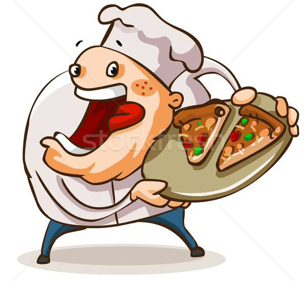 Chef have a pan of Pizza. Stock photo © araga
