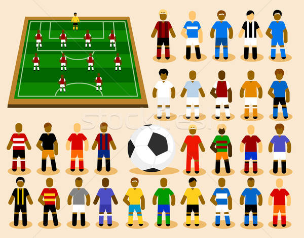 Set of Soccer Player in Formation. Stock photo © araga