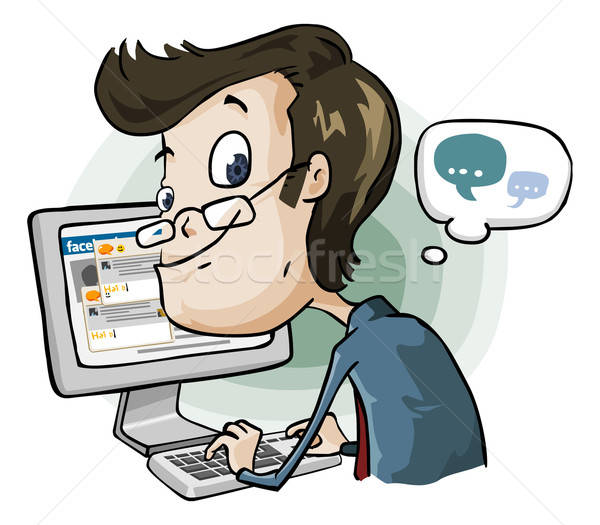 Tijd facebook chat cartoon man type Stockfoto © araga