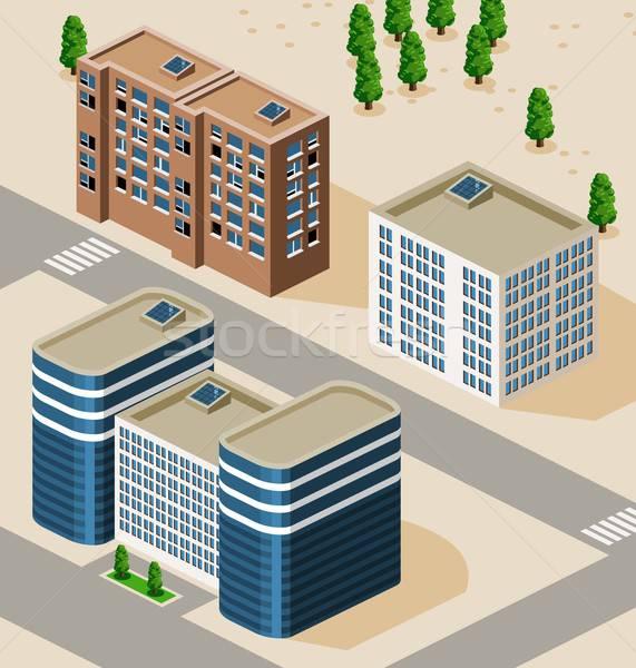 кампус изометрический подробный здании вектора дороги Сток-фото © araga