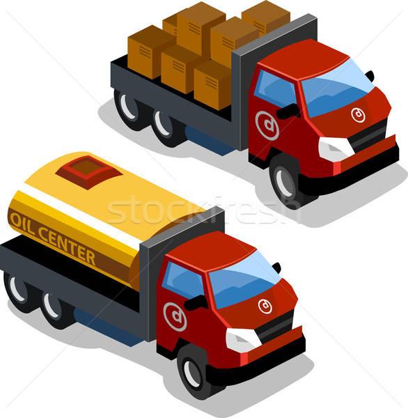 Isometrische olie vrachtwagen eigen wereld auto Stockfoto © araga