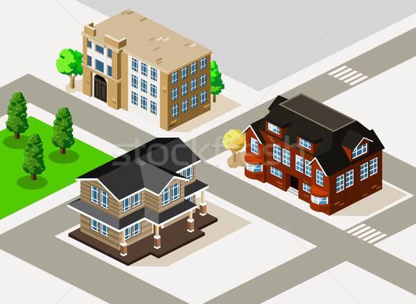 богатых дома квартиру изометрический подробный здании Сток-фото © araga
