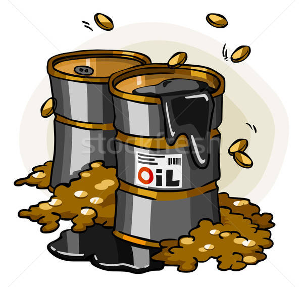 Olie crisis cartoon geld wereld goud Stockfoto © araga
