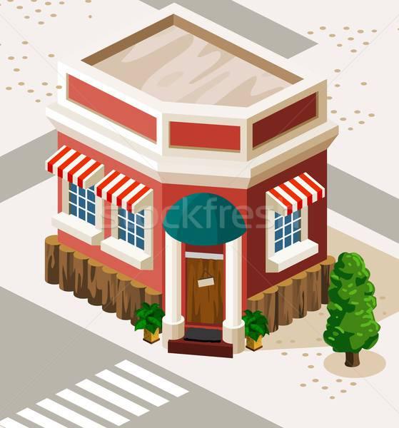Restaurant winkel isometrische gedetailleerd gebouw vector Stockfoto © araga