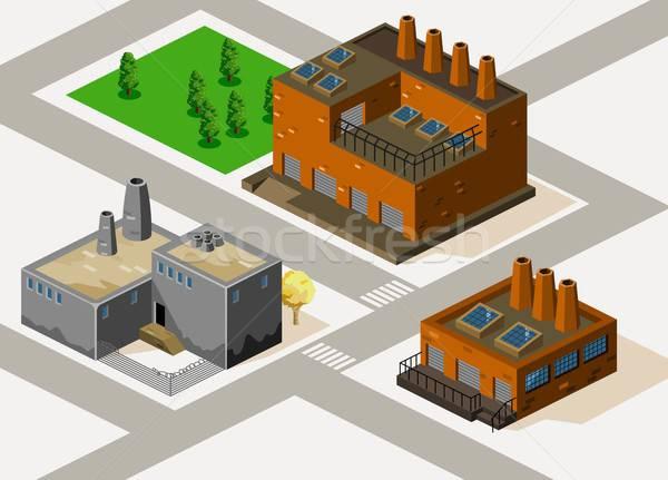Fabrika izometrik ayrıntılı Bina vektör yol Stok fotoğraf © araga