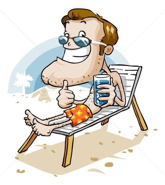 Vakantie strand cartoon man zomer vrijheid Stockfoto © araga
