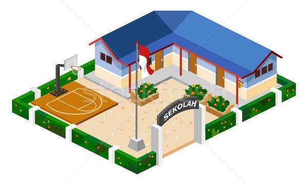 Dobre szkoły izometryczny własny świat Zdjęcia stock © araga