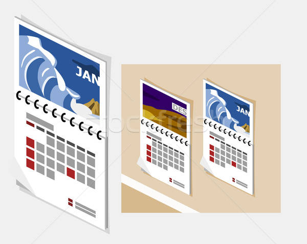 Kalender isometrische eigen wereld kantoor muur Stockfoto © araga