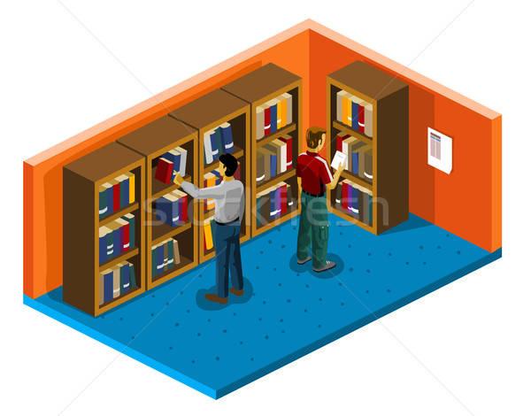 Könyvtár főiskola izometrikus saját világ könyv Stock fotó © araga