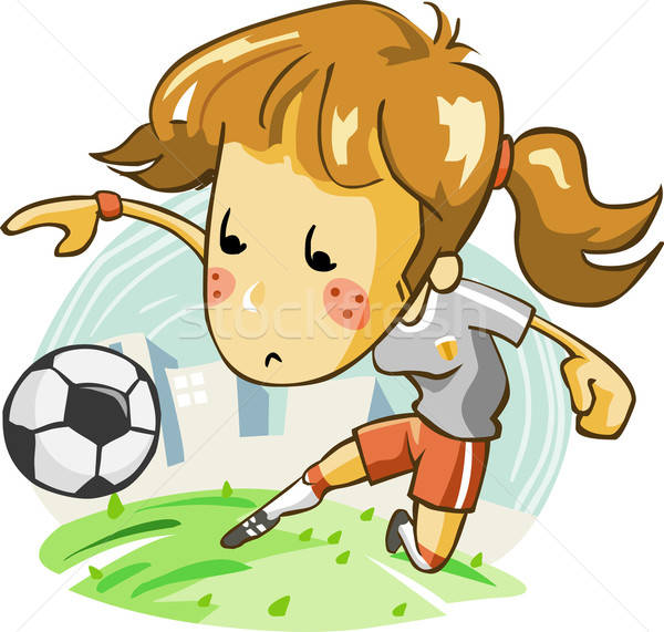 Dames voetbal team gedetailleerd vector cartoon Stockfoto © araga