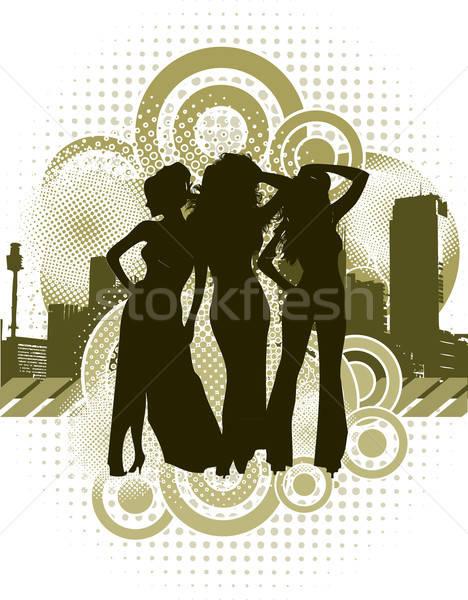 Vrouw silhouetten retro stedelijke vector Stockfoto © archymeder
