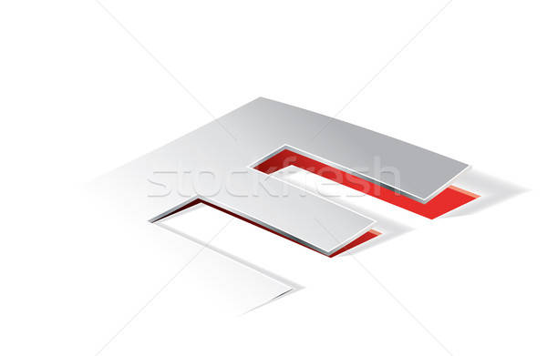 Paper folding with letter E in perspective view Stock photo © archymeder