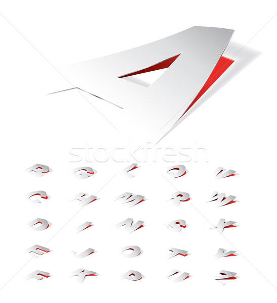 Paper folding letters in perspective view. Stock photo © archymeder