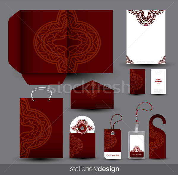Stationery set design with ancient ornament Stock photo © archymeder