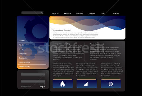 Blue website template Stock photo © archymeder
