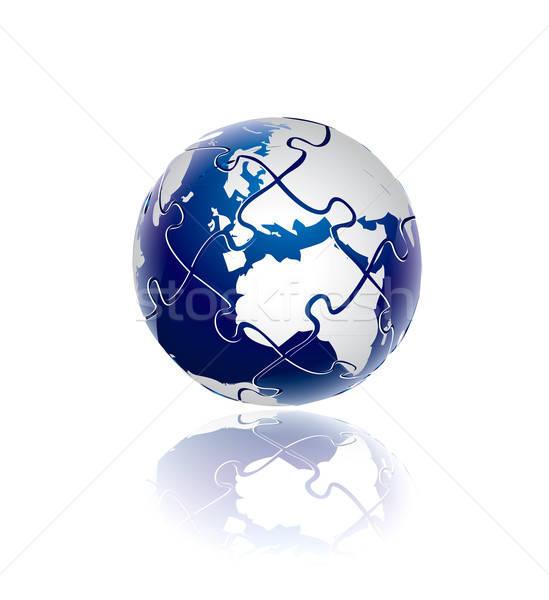 3D world puzzle concept Stock photo © archymeder