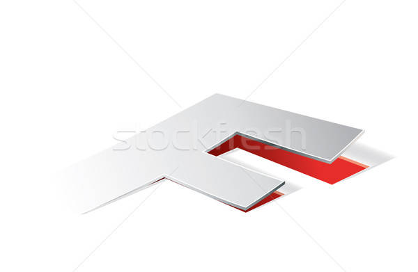 Paper folding with letter F in perspective view Stock photo © archymeder