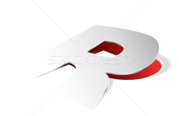Paper folding with letter R in perspective view Stock photo © archymeder