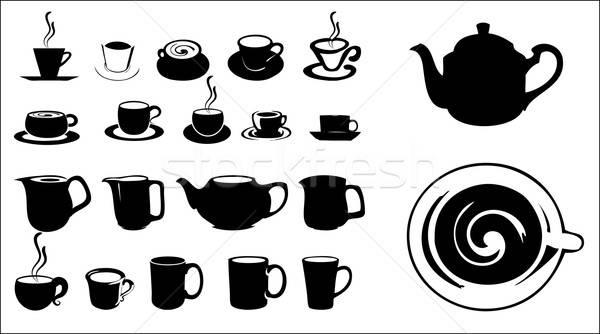 Siluetas las tazas de café vector formato leche Foto stock © archymeder