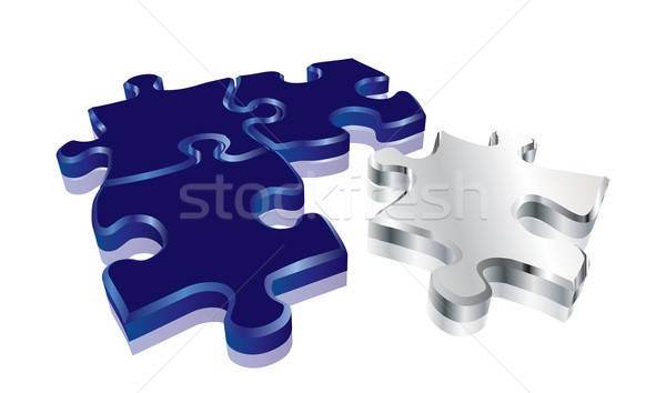 Bleu 3D puzzle vecteur format Photo stock © archymeder