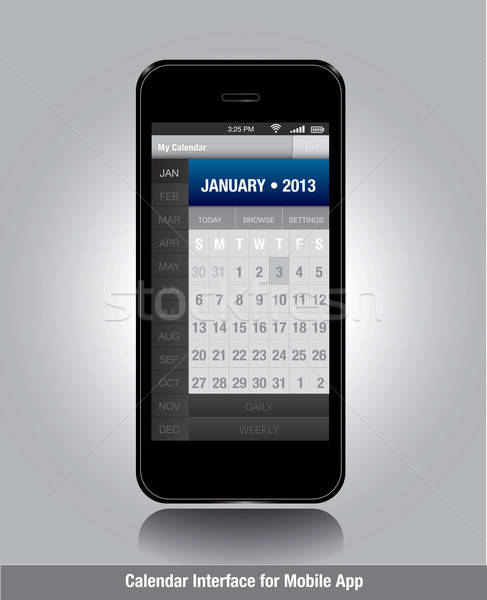 Smartphone calendrier modèle mobiles applications Photo stock © archymeder