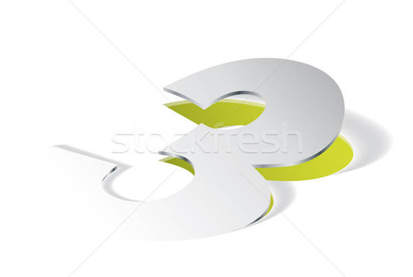 Paper folding with number 3 in perspective view Stock photo © archymeder