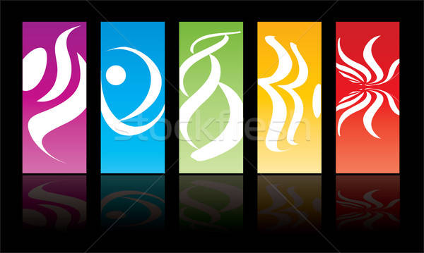 Five colored vertical sticker Stock photo © archymeder