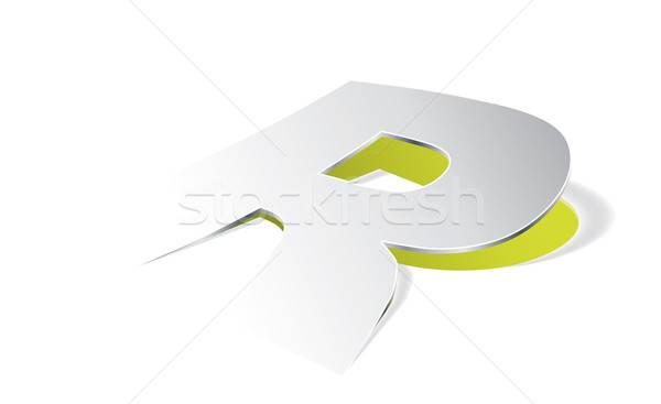 Stockfoto: Papier · letter · r · perspectief · vector