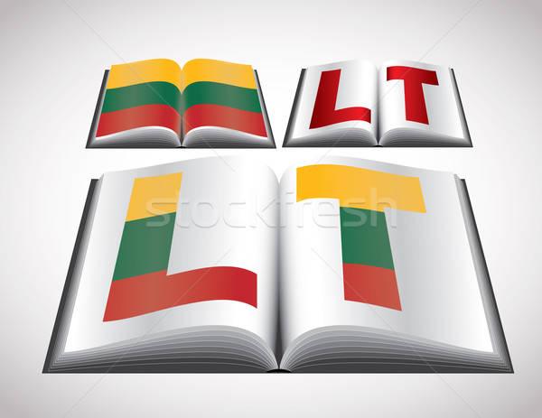 Flagge Litauen editierbar Vektor formatieren Buch Stock foto © archymeder