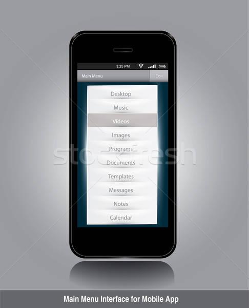 Principal menú interfaz móviles aplicación Foto stock © archymeder
