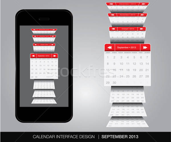 Calendrier interface vecteur format affaires Photo stock © archymeder