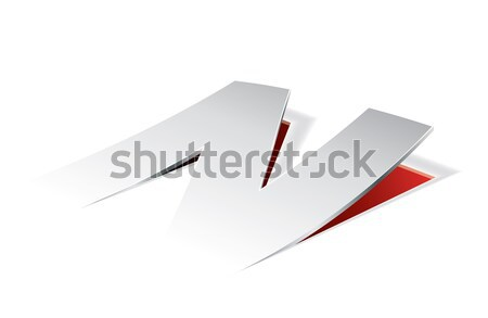 Paper folding with letter V in perspective view Stock photo © archymeder