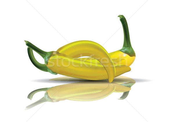 Hot yellow Chilis with reflection. Stock photo © archymeder