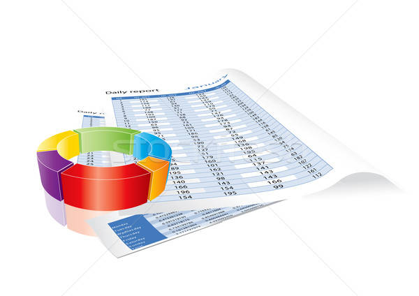 Stock photo: Conceptual business earnings reports and chart